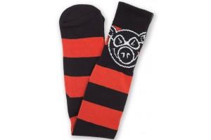 Pig Head Stripe Socks Red Black