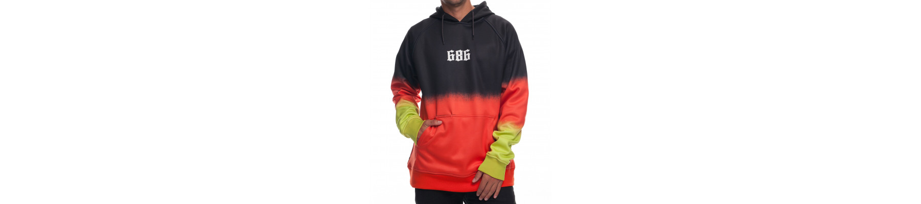 686 Knockout Bonded Fleece Pullover Black Dip Dye DRW