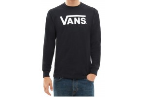 VANS CLASSIC LS BOYS BLACK WHITE